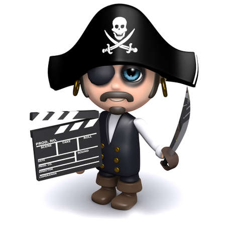 privateer: 3d render of a pirate with a clapperboard