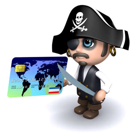 3d render of a pirate holding a credit card photo