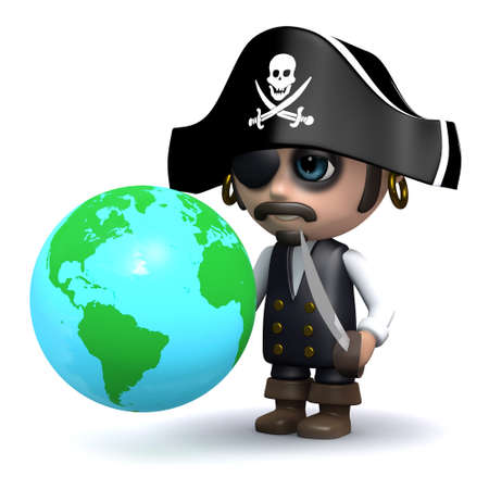 privateer: 3d render of a pirate with a globe of the Earth