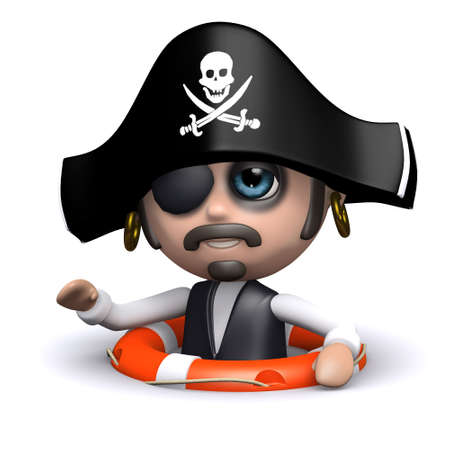 privateer: 3d render of a pirate floating with a life belt