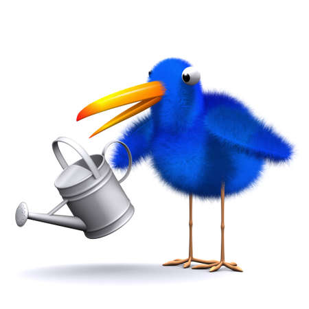 bluebird: 3d render of a bluebird with a watering can Stock Photo