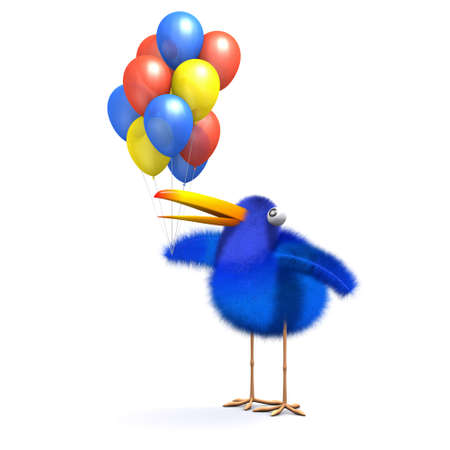 tweet balloon: 3d render of a bluebird with colored balloons