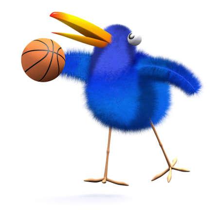 bluebird: 3d render of a bluebird playing basketball
