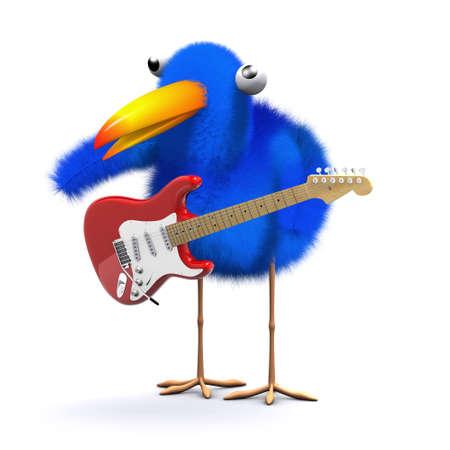 chirp: 3d render of a bluebird with an electric guitar