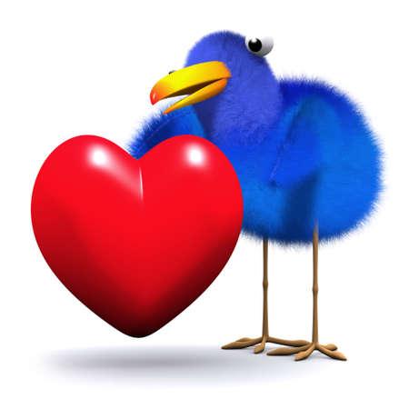 chirp: 3d render of a bluebird hugging a red heart Stock Photo