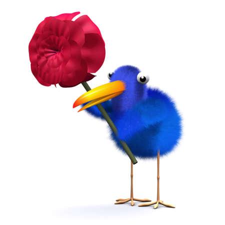 bluebird: 3d render of a bluebird holding a red rose Stock Photo