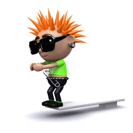 diving board: 3d render of a punk kid on a diving board Stock Photo