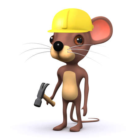 3d render of a cute mouse wearing a safety helmey and holding a hammer photo
