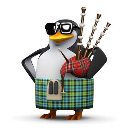 3d render of a penguin wearing a kilt and sporran and playing the bagpipes