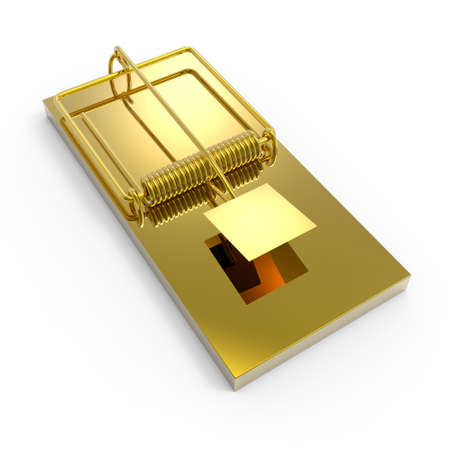 sprung: 3d render of a gold moustrap