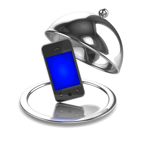 silver service: 3d render of a silver service tray with smartphone Stock Photo