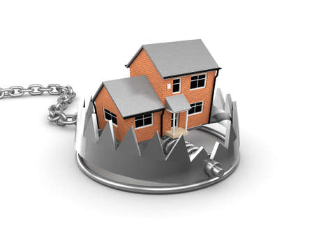 bear trap: 3d render of a house in a bear trap Stock Photo