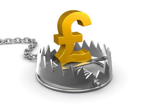 bear trap: 3d render of a gold UK Pounds Sterling symbol in a bear trap