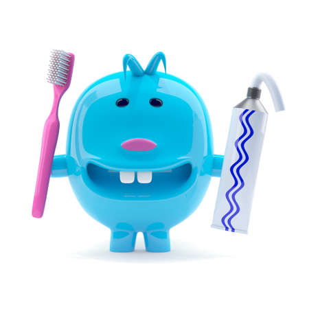 odd: 3d render of a blue plastic character holding a toothpaste tube and a toothbrush