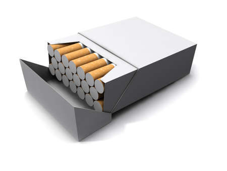 bait box: 3d render of a packet of twenty cigarettes