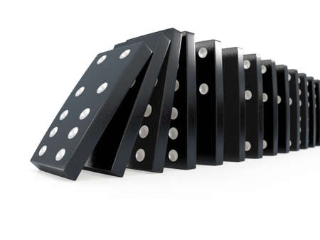 domino effect: 3d render of crashing black dominoes in chain reaction