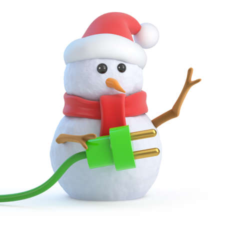 electricity 3d: 3d render of a snowman wearing a Santa Claus hat and holding a green power cord
