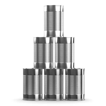tin can phone: 3d render of a stack of tin cans