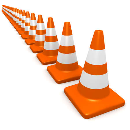 roadworks: 3d render of traffic cones