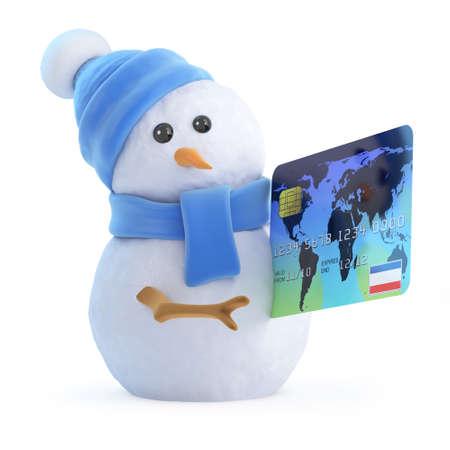 debit card: 3d render of a snowman with a debit card