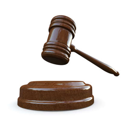 courtroom: 3d render of a wooden auctioneer gavel