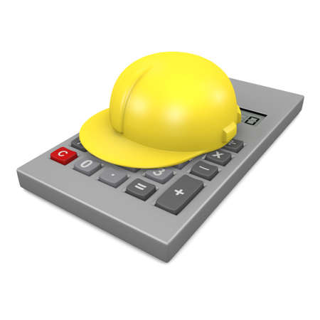 sums: 3d render of a calculator with safety helmet resting on it