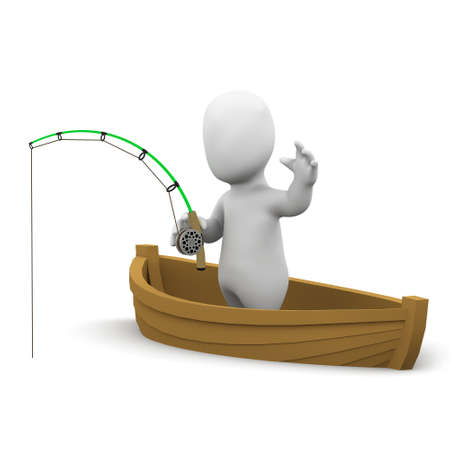 3d render of a little person fishing from a dinghy photo