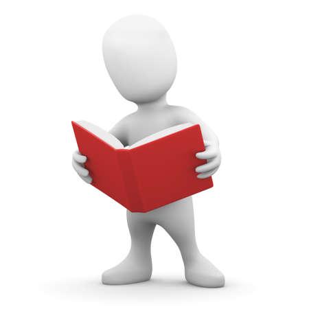 persona leyendo: 3d rinden de una peque�a persona que lee un libro