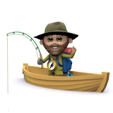 3d render of an explorer fishing from a boat photo