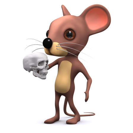 hamlet: 3d render of a mouse holding a human skull