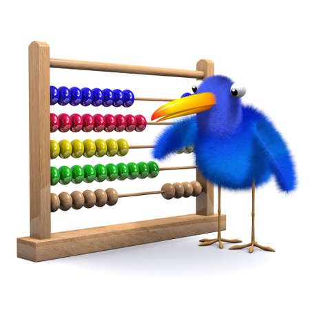 sums: 3d render of a bluebird with an abacus