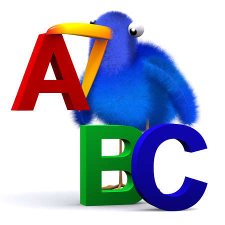 chirp: 3d render of a bluebird with letters of the alphabet
