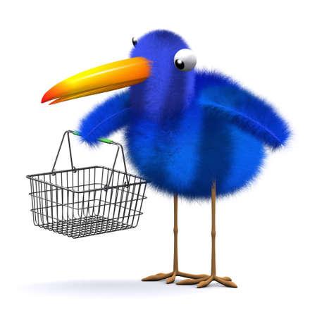 bluebird: 3d render of a bluebird with an empty shopping basket