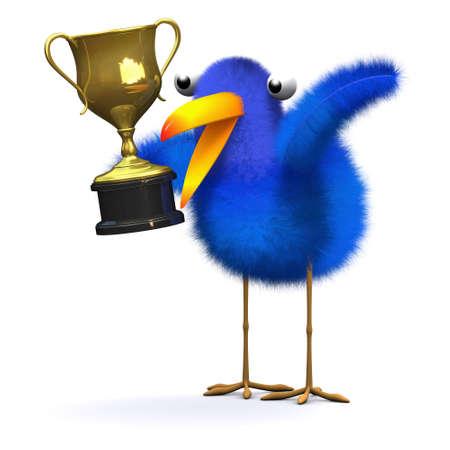 bluebird: 3d render of a bluebird with a gold trophy