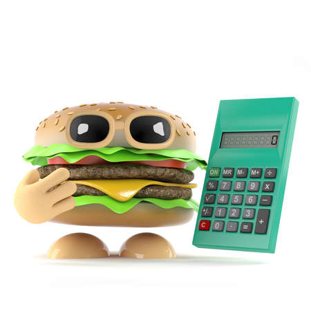 sums: 3d render of a beefburger holding a calculator