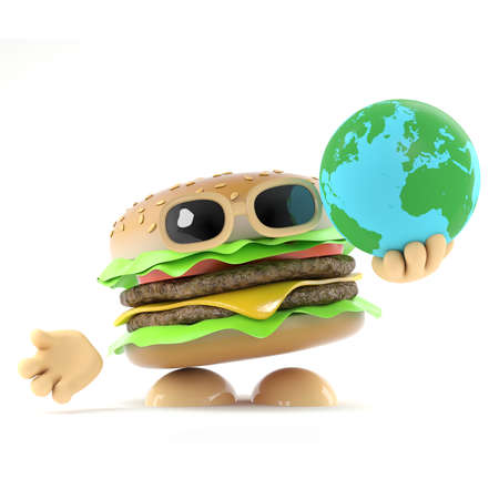3d render of a beefburger holding a globe of the Earth photo