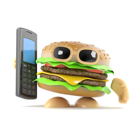 beefburger: 3d render of a beefburger holding a mobile phone