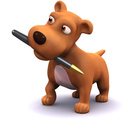 mongrel: 3d render of a dog with a pen in his mouth Stock Photo