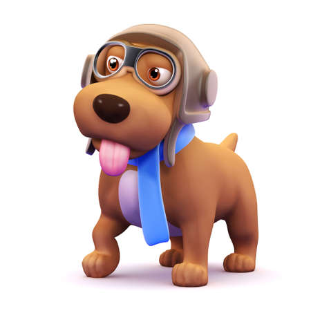 drool: 3d render of a dog dressed as an aircraft pilot with his tongue hanging out Stock Photo