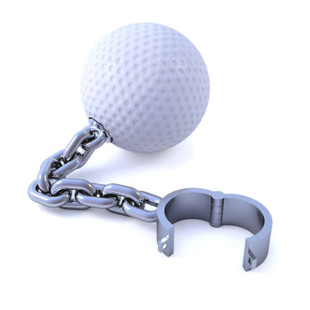 shackle: 3d render of a golf ball attached to a chain and shackle Stock Photo