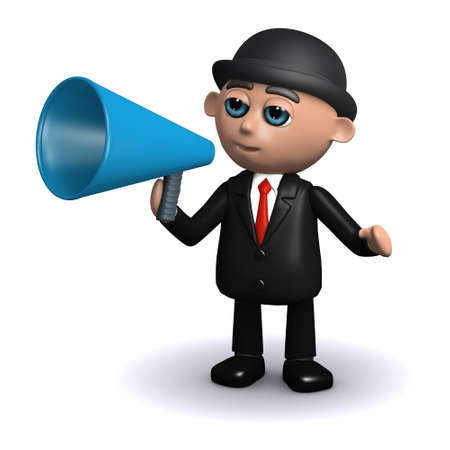 3d render of a businessman speaking through a megaphone photo