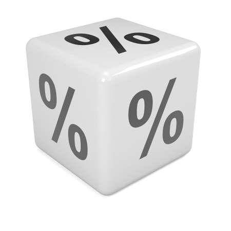 3d render of white dice marked with percent symbol photo