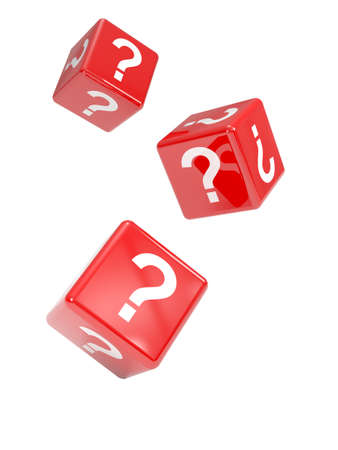 on the mark: 3d render of falling red dice marked with question marks