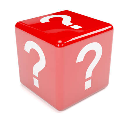 3d render of red dice marked with a question mark photo