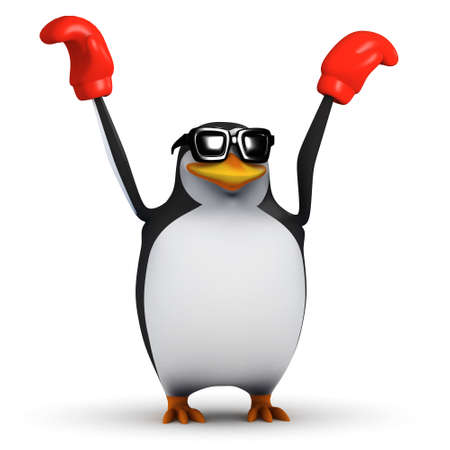 defiant: 3d render of a penguin holding his boxing gloves up in defiant success Stock Photo