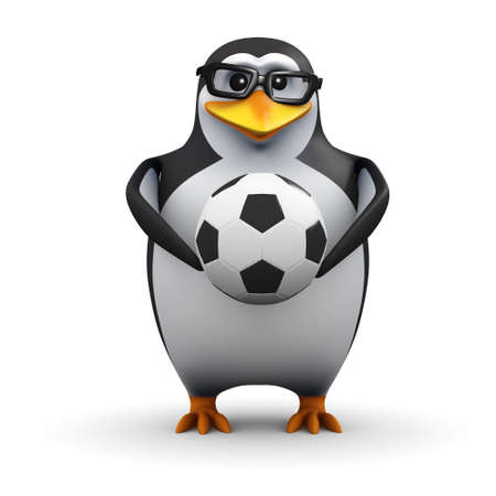 3d render of a penguin holding a soccer ball photo