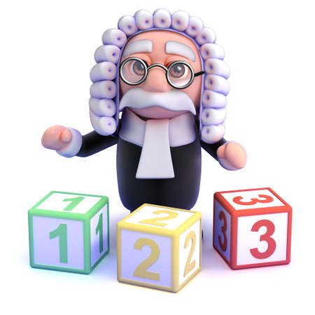 barrister: 3d render of a judge with counting blocks