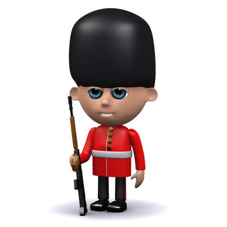 bearskin: 3d render of a Coldstream Guard on sentry duty Stock Photo