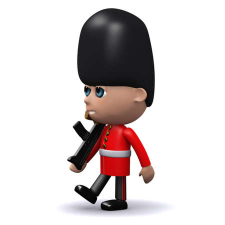 bearskin: 3d render of a Coldstream Guard marching