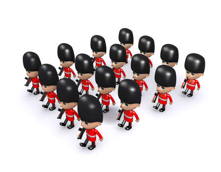 buckingham palace: 3d render of a large formation of Coldstream Guards Stock Photo
